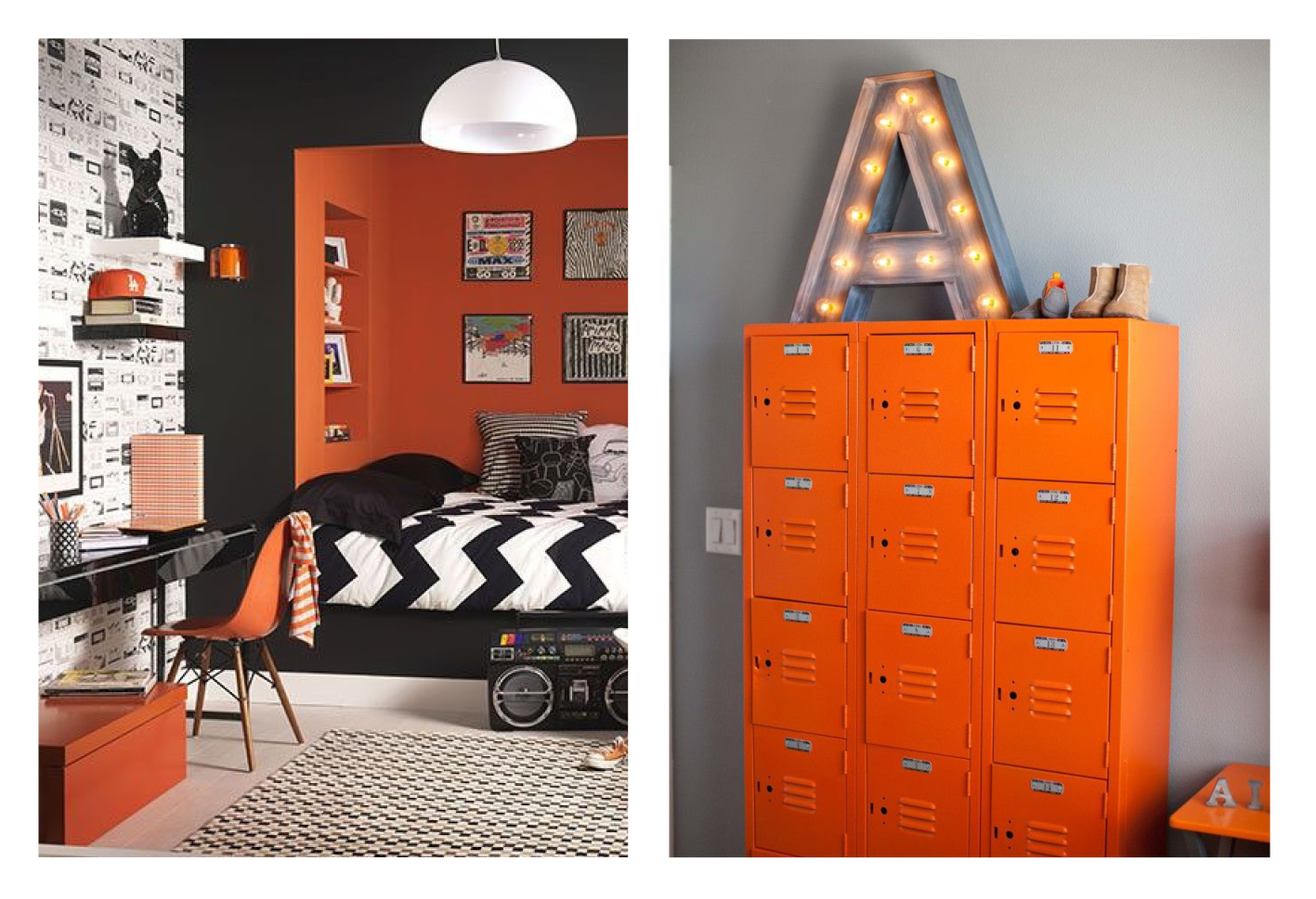 If You Wanted To Stay Away From The Typical Blues And Greens For A Boys  Bedroom, Try An Orange Accent Wall. Or How About Upcycling An Old Filing  Cabinet Or ...